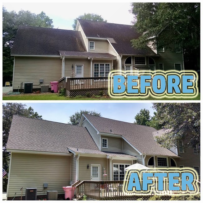 Before and After Photo of Roof Cleaning Ocala